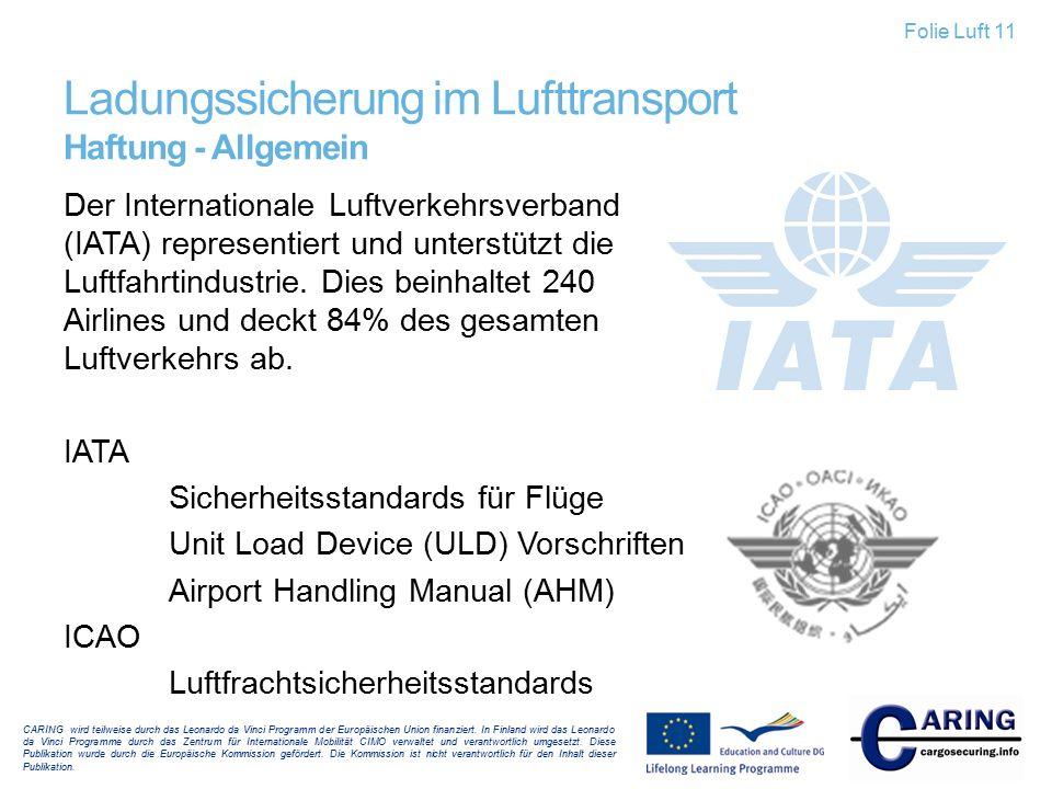 Ladungssicherung im Lufttransport Haftung - Allgemein