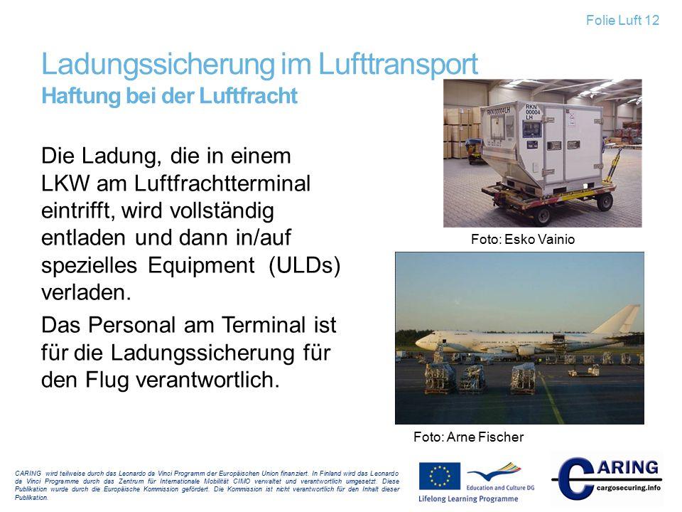Ladungssicherung im Lufttransport Haftung bei der Luftfracht