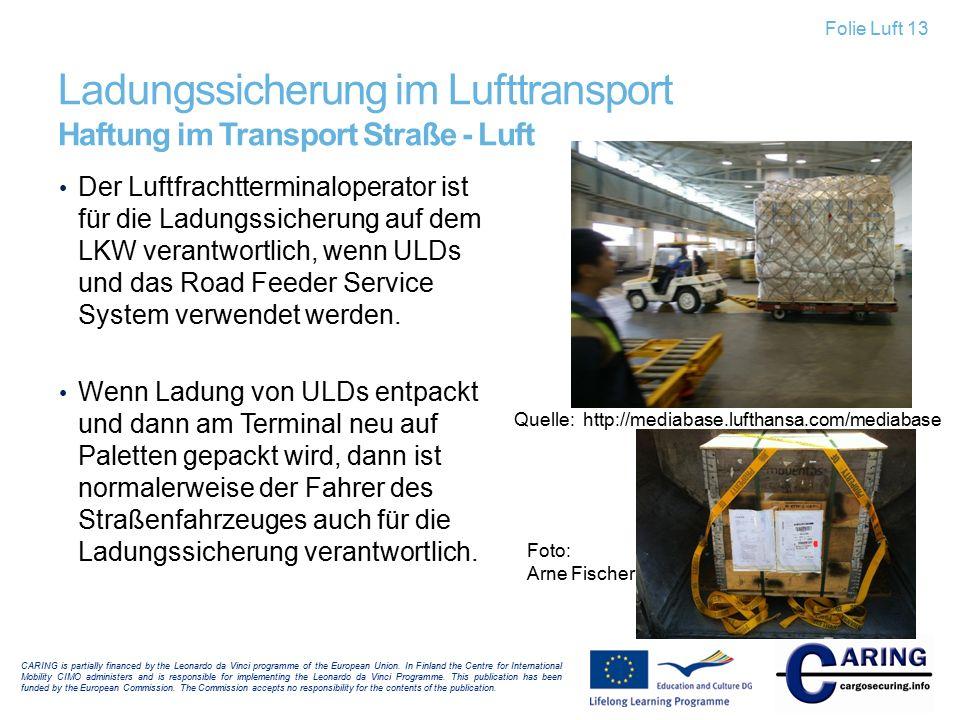Ladungssicherung im Lufttransport Haftung im Transport Straße - Luft