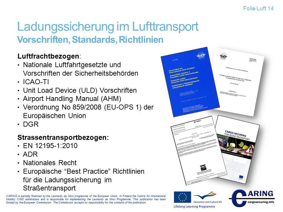 Ladungssicherung im Lufttransport Vorschriften, Standards, Richtlinien