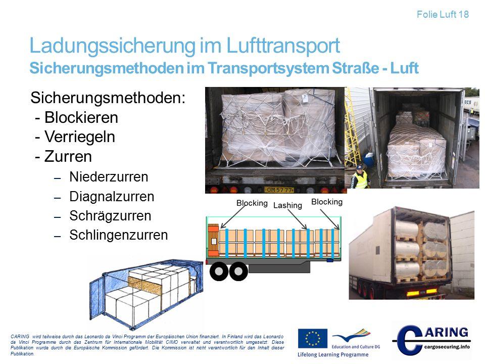 Folie Luft 18 Ladungssicherung im Lufttransport Sicherungsmethoden im Transportsystem Straße - Luft.