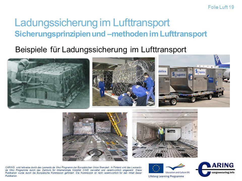 Folie Luft 19 Ladungssicherung im Lufttransport Sicherungsprinzipien und –methoden im Lufttransport.