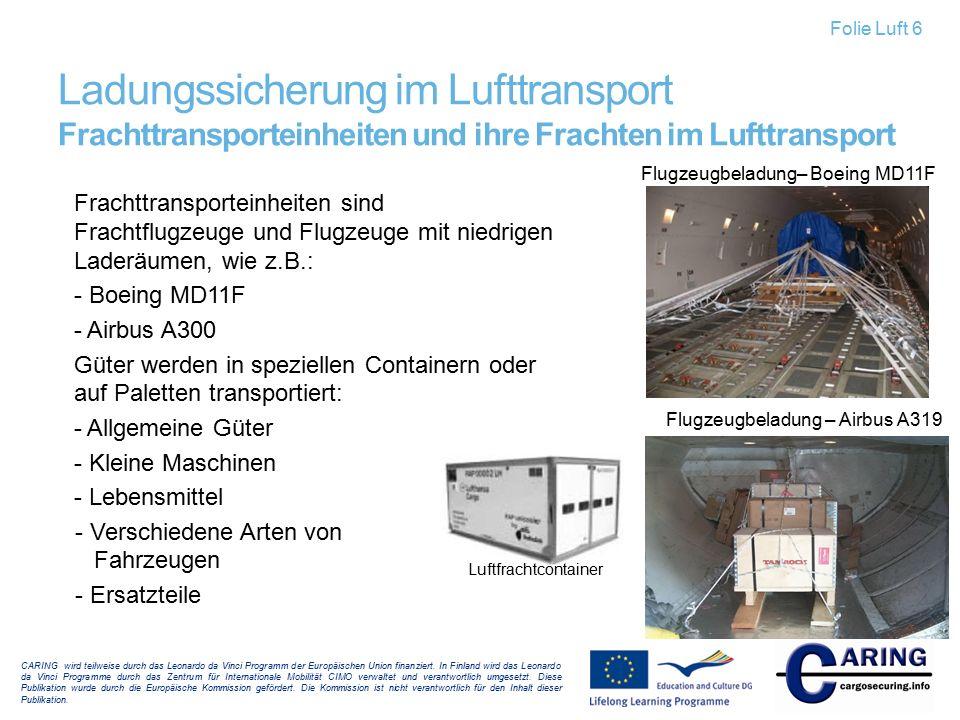 Folie Luft 6 Ladungssicherung im Lufttransport Frachttransporteinheiten und ihre Frachten im Lufttransport.