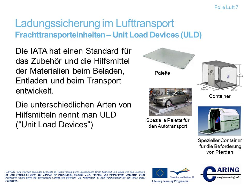 Folie Luft 7 Ladungssicherung im Lufttransport Frachttransporteinheiten – Unit Load Devices (ULD)