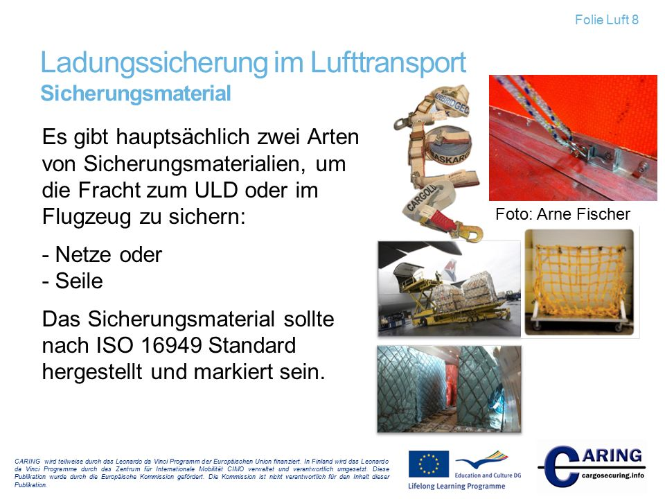 Ladungssicherung im Lufttransport Sicherungsmaterial
