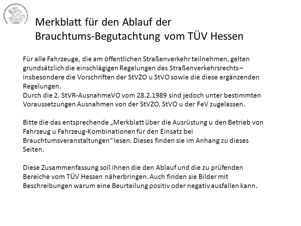 Merkblatt für den Ablauf der Brauchtums-Begutachtung vom TÜV Hessen