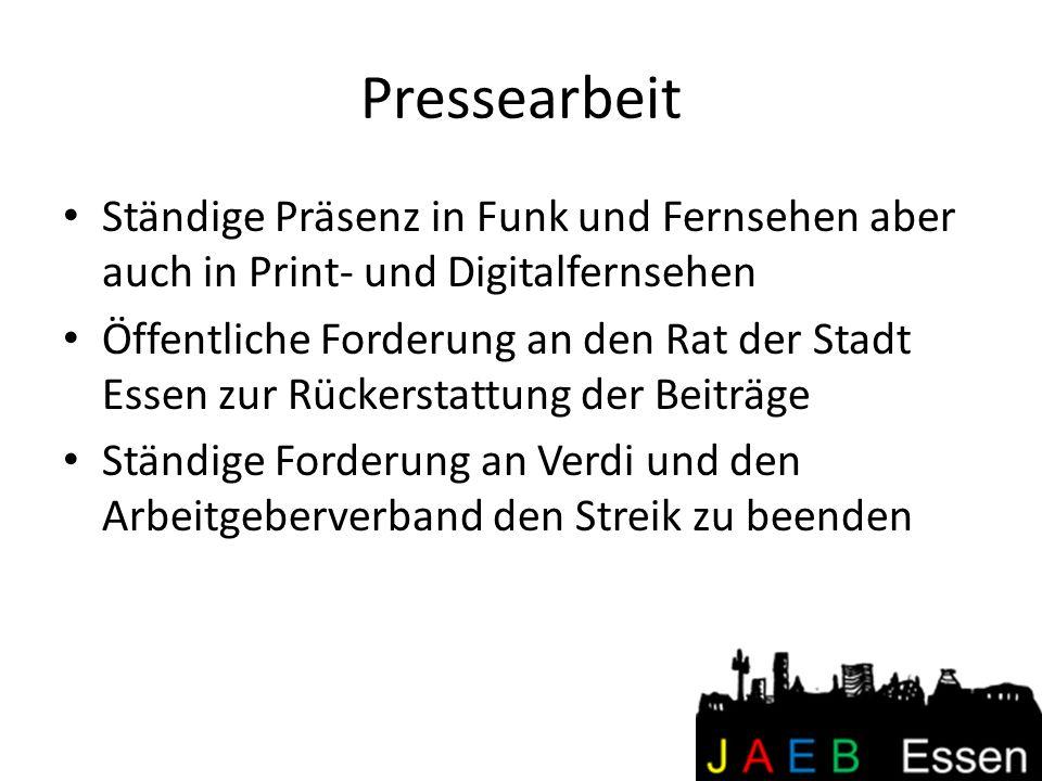 Pressearbeit Ständige Präsenz in Funk und Fernsehen aber auch in Print- und Digitalfernsehen.