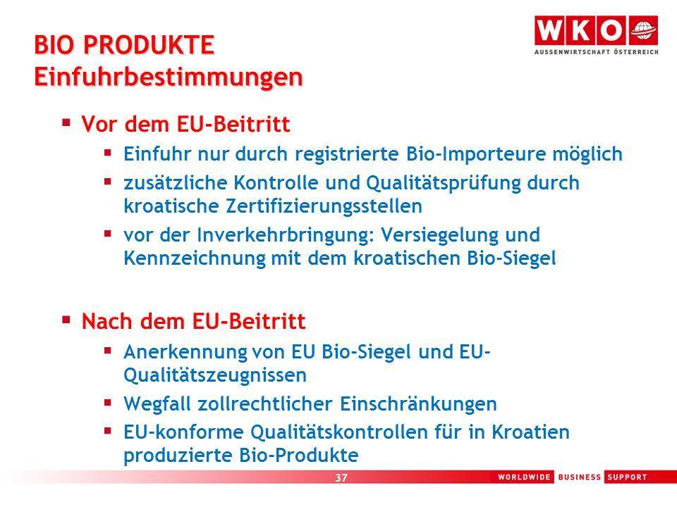 BIO PRODUKTE Einfuhrbestimmungen