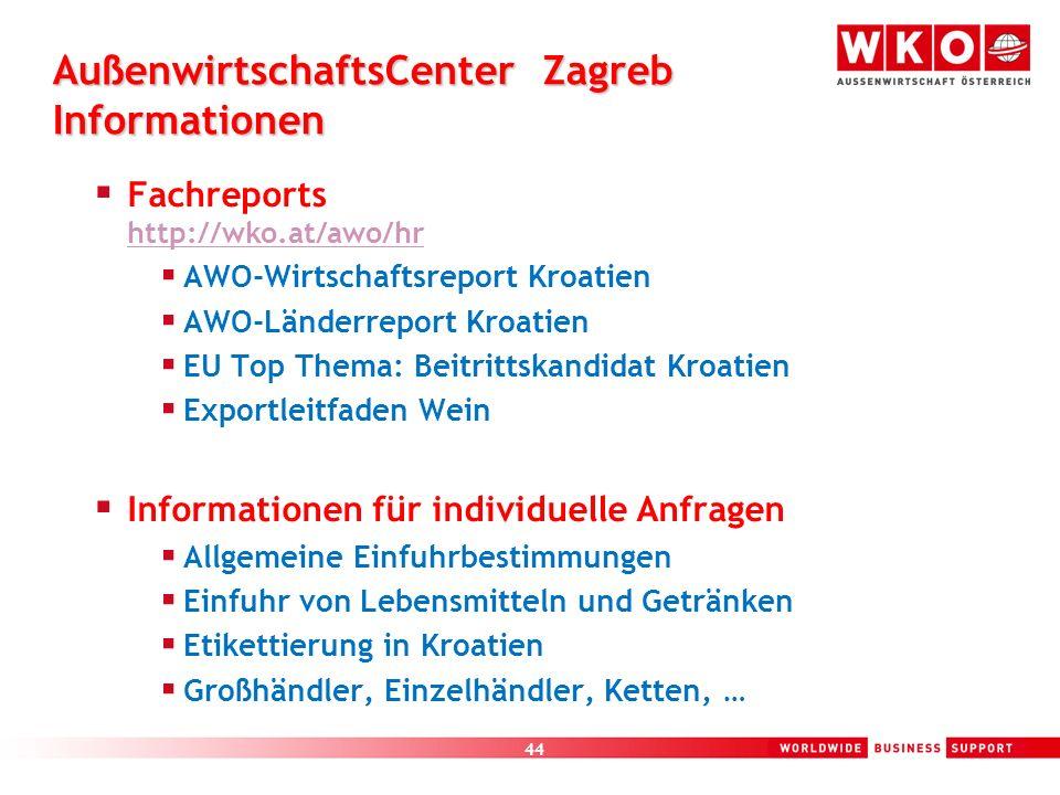 AußenwirtschaftsCenter Zagreb Informationen