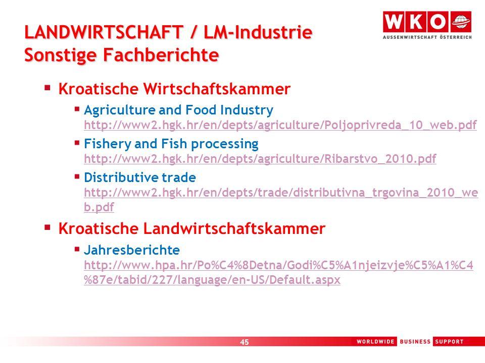LANDWIRTSCHAFT / LM-Industrie Sonstige Fachberichte