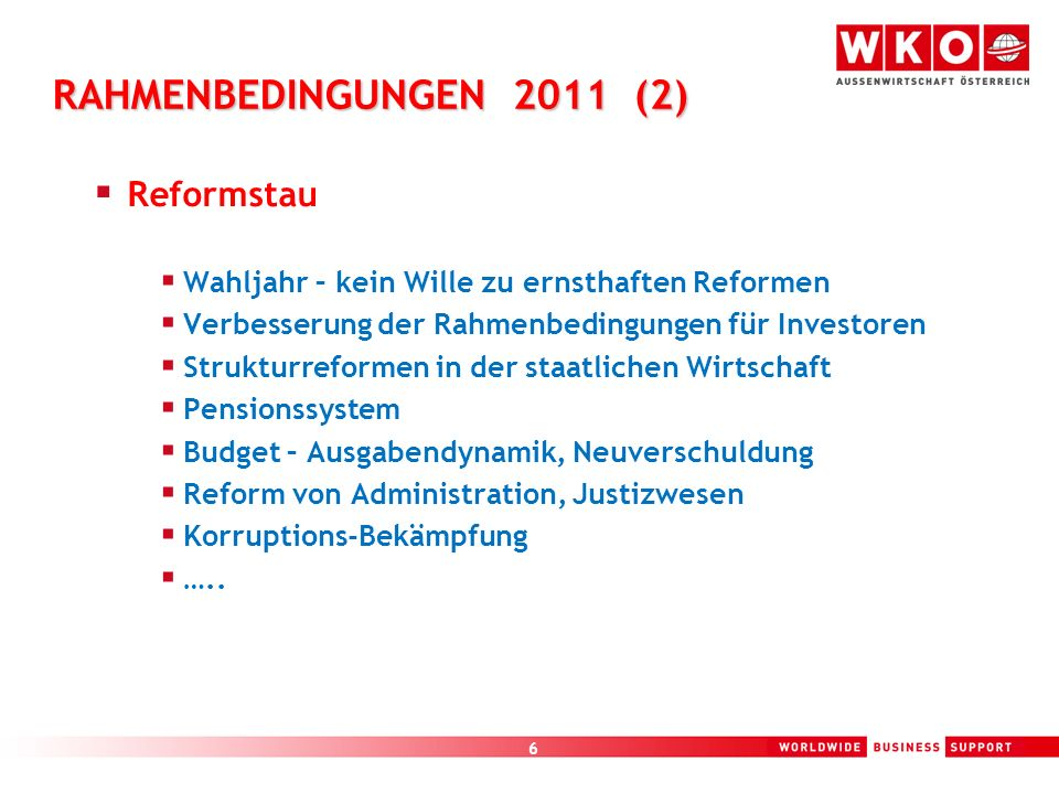 RAHMENBEDINGUNGEN 2011 (2) Reformstau