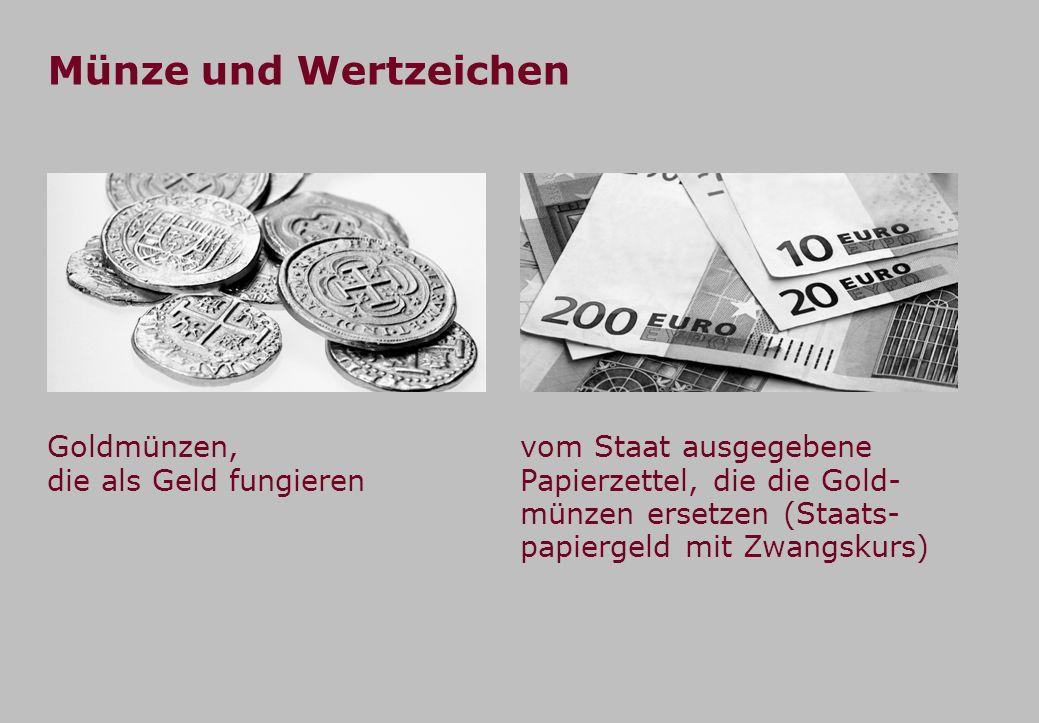 Münze und Wertzeichen Goldmünzen, die als Geld fungieren