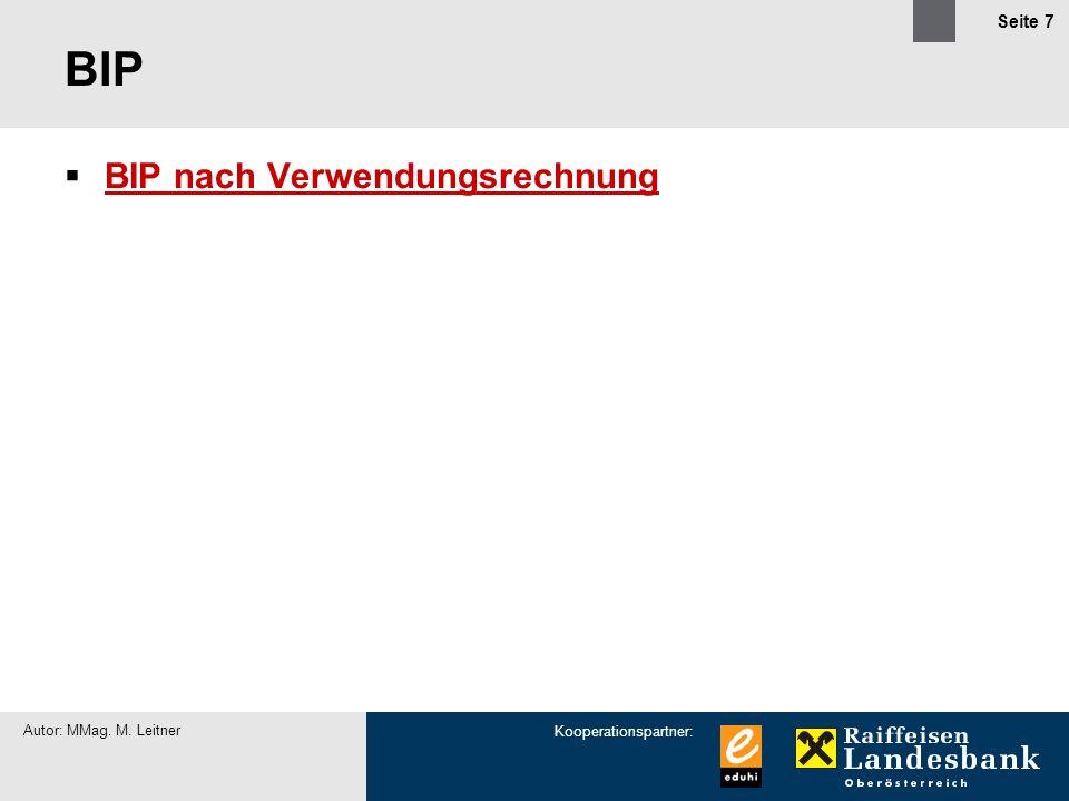 BIP BIP nach Verwendungsrechnung Autor: MMag. M. Leitner