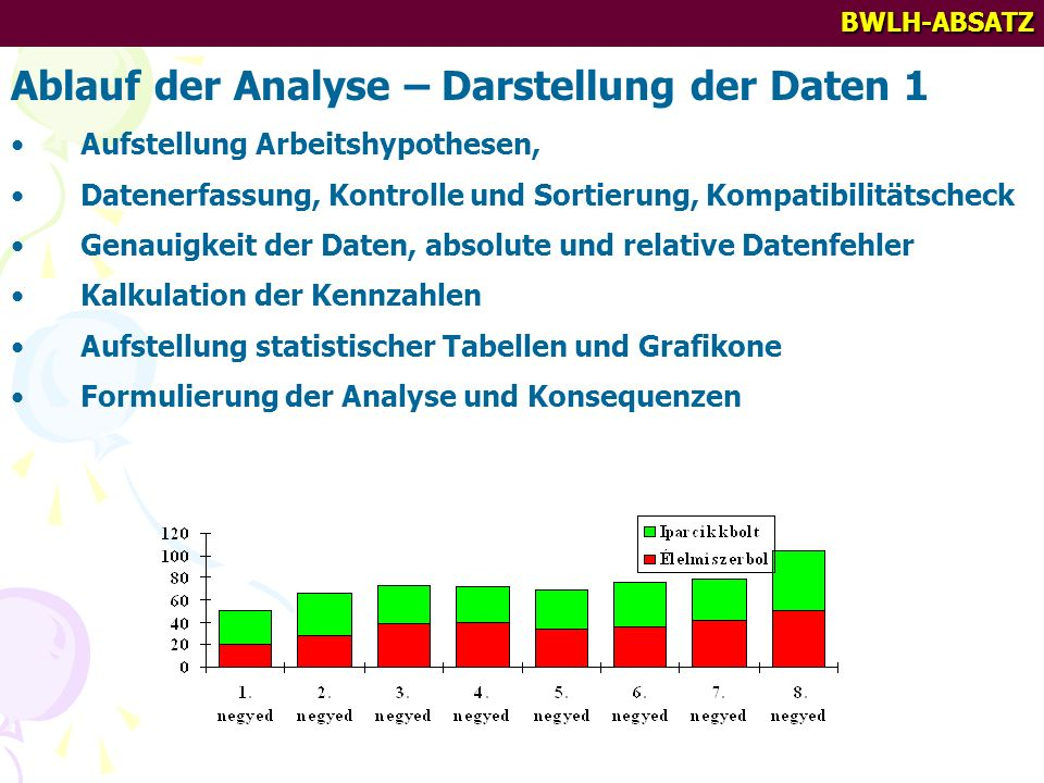Ablauf der Analyse – Darstellung der Daten 1