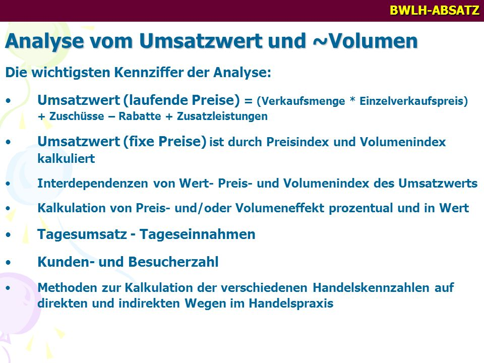Analyse vom Umsatzwert und ~Volumen
