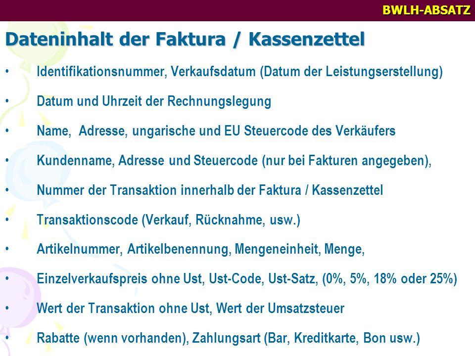 Dateninhalt der Faktura / Kassenzettel