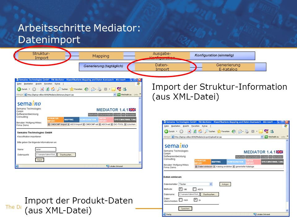 Arbeitsschritte Mediator: Datenimport