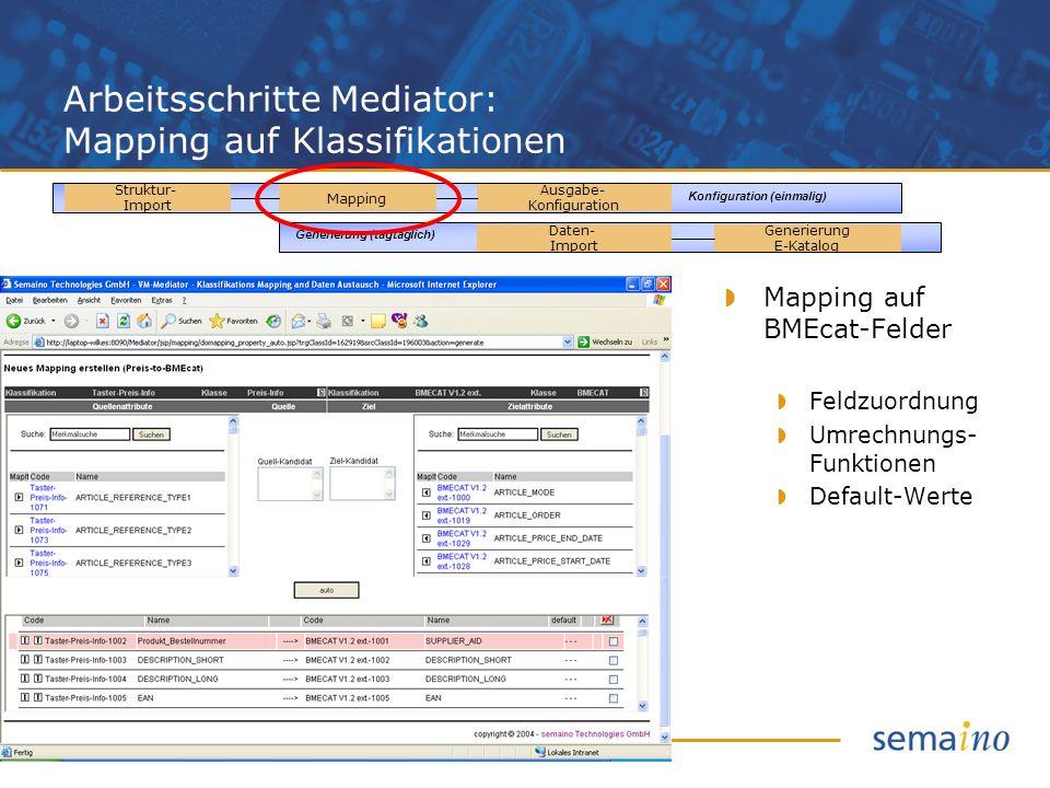 Arbeitsschritte Mediator: Mapping auf Klassifikationen