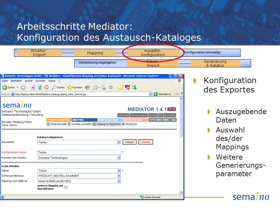 Arbeitsschritte Mediator: Konfiguration des Austausch-Kataloges