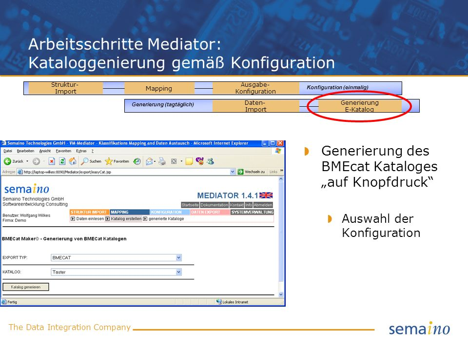Arbeitsschritte Mediator: Kataloggenierung gemäß Konfiguration