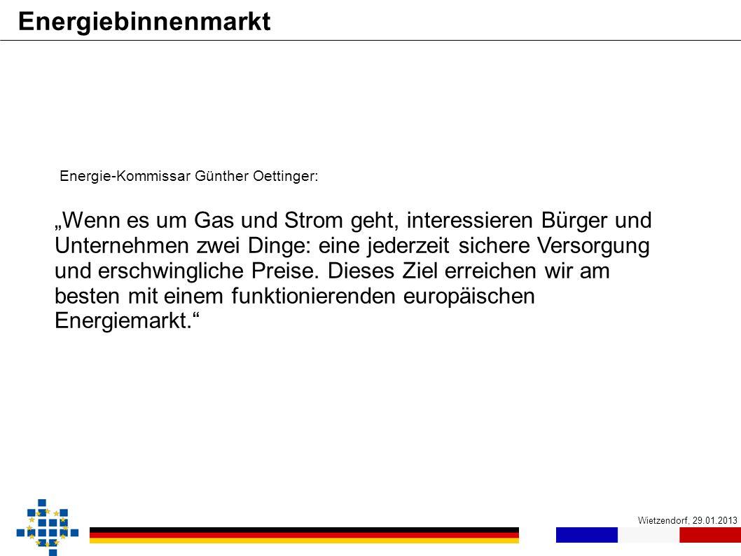 Energiebinnenmarkt Energie-Kommissar Günther Oettinger: