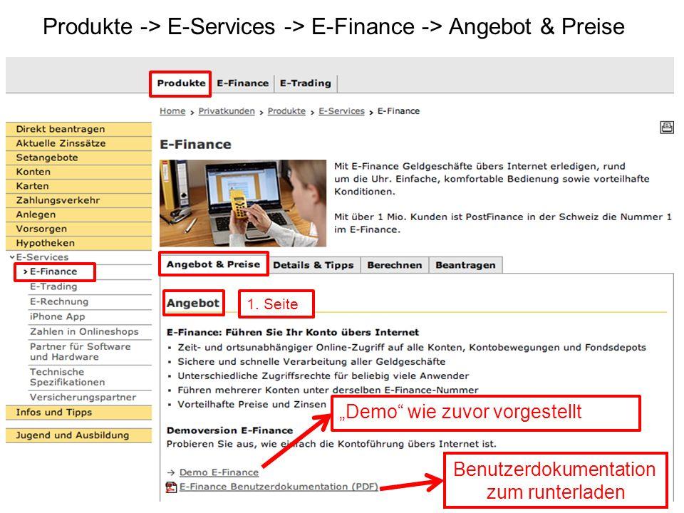 Produkte -> E-Services -> E-Finance -> Angebot & Preise