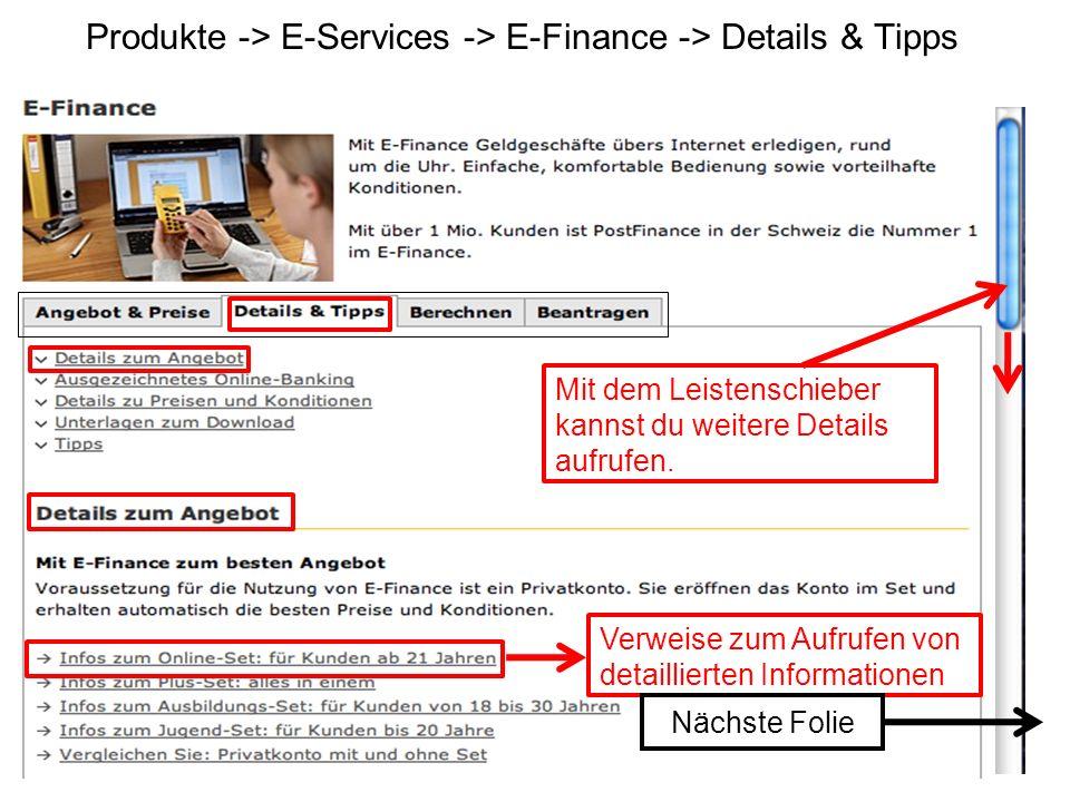 Produkte -> E-Services -> E-Finance -> Details & Tipps
