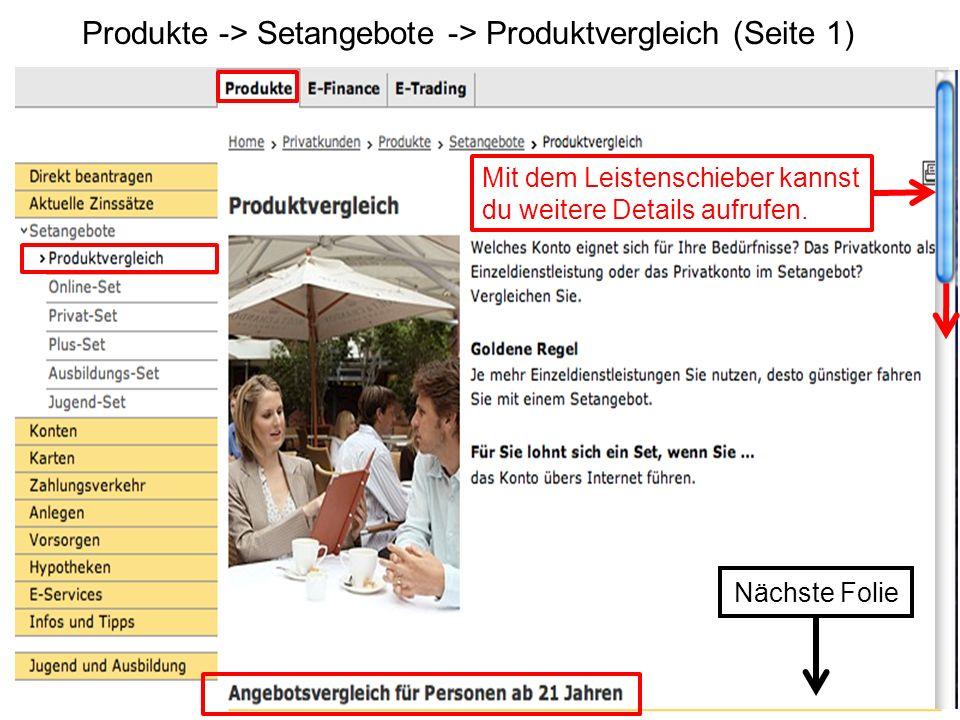Produkte -> Setangebote -> Produktvergleich (Seite 1)