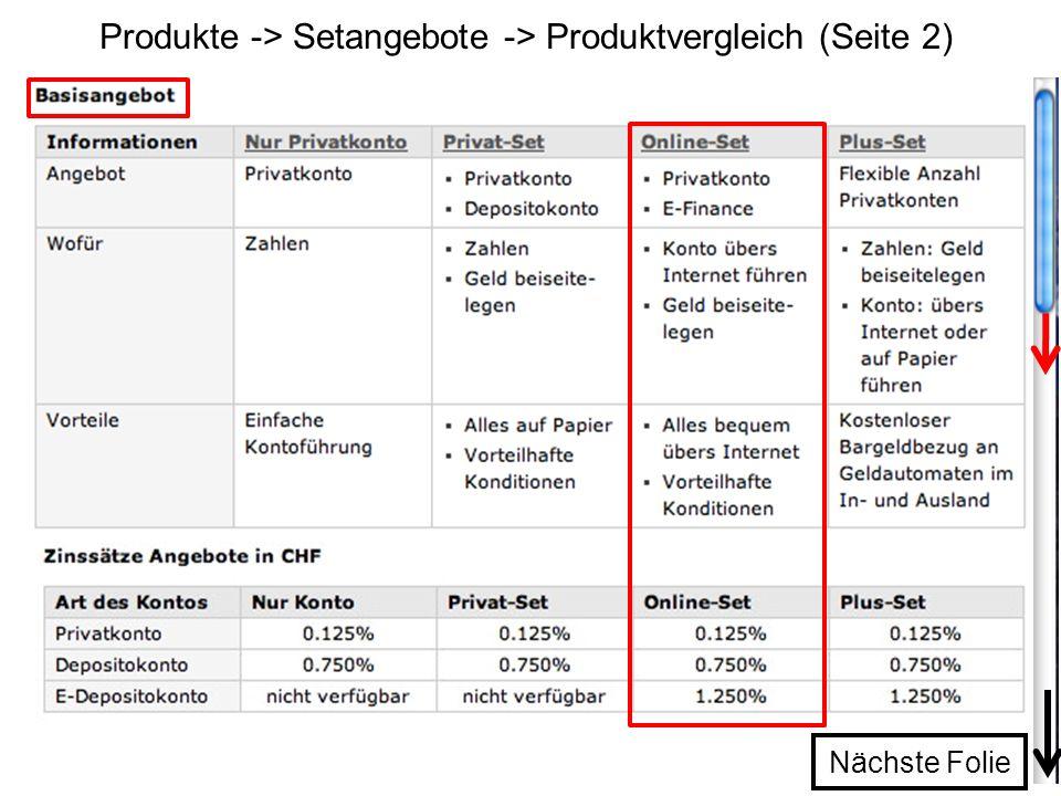 Produkte -> Setangebote -> Produktvergleich (Seite 2)