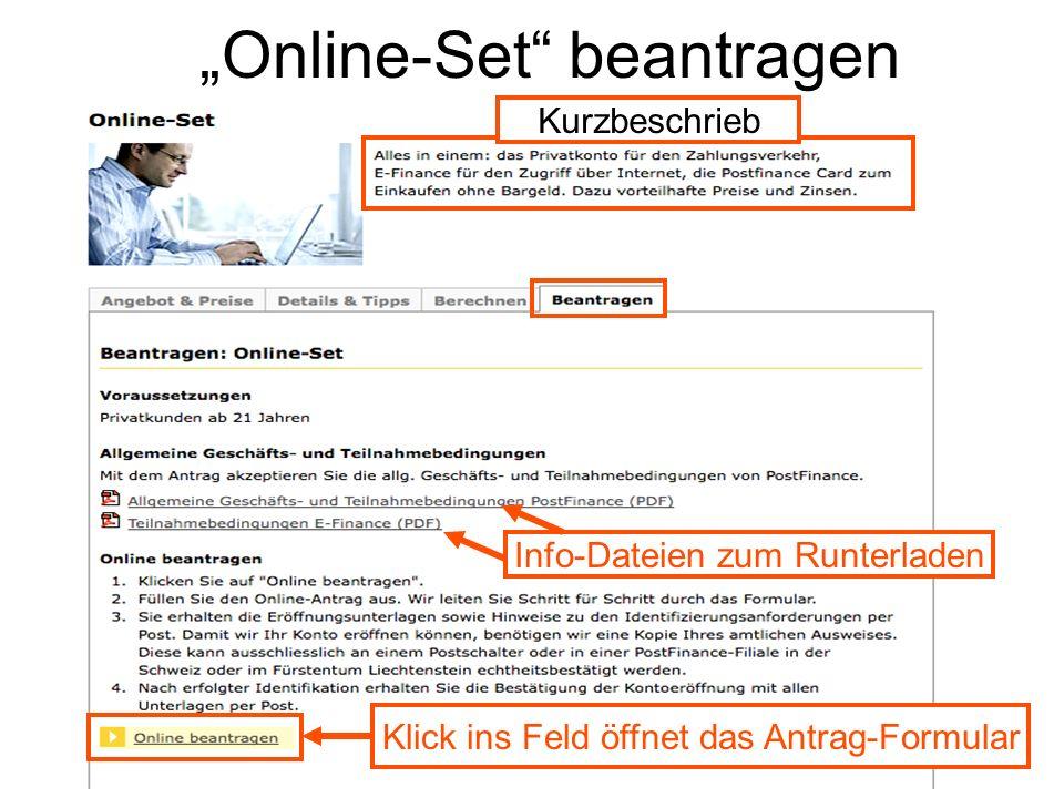 """Online-Set beantragen"