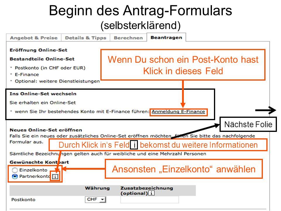 Beginn des Antrag-Formulars (selbsterklärend)