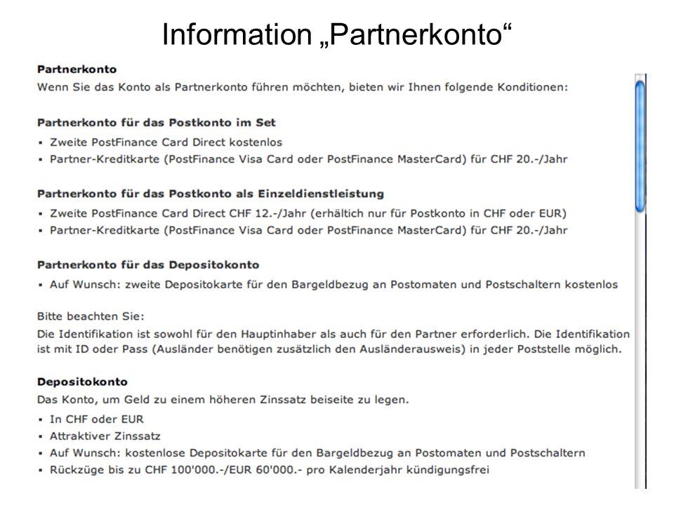 "Information ""Partnerkonto"