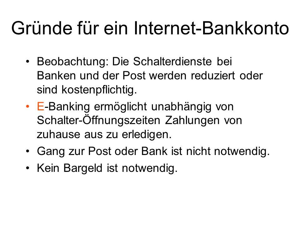Gründe für ein Internet-Bankkonto