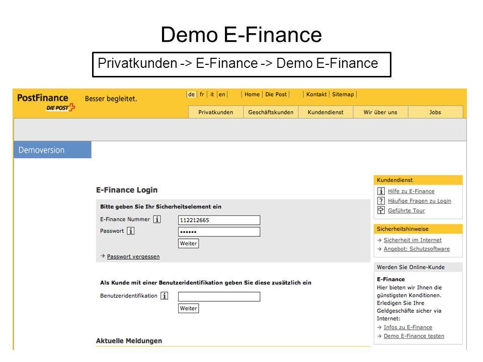 Demo E-Finance Privatkunden -> E-Finance -> Demo E-Finance