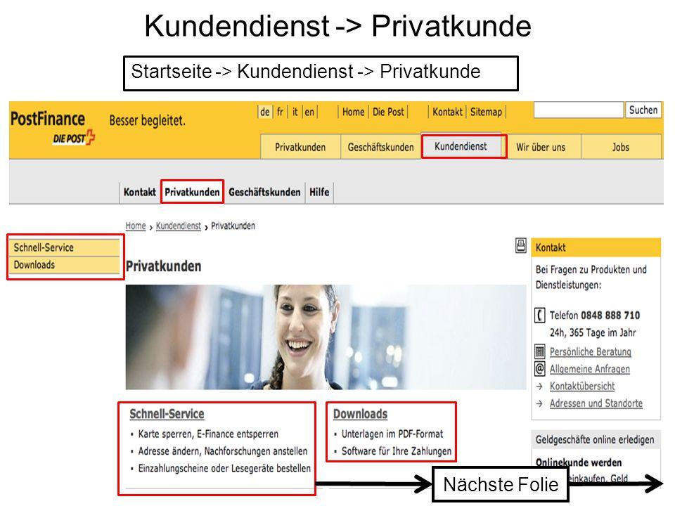 Kundendienst -> Privatkunde
