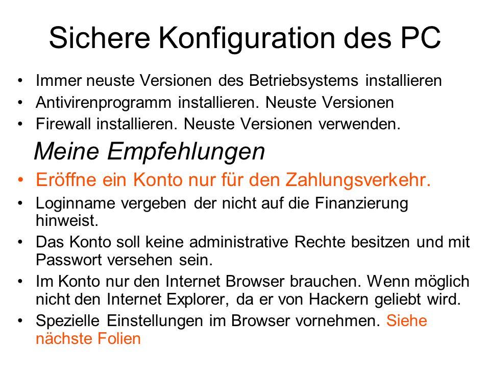 Sichere Konfiguration des PC