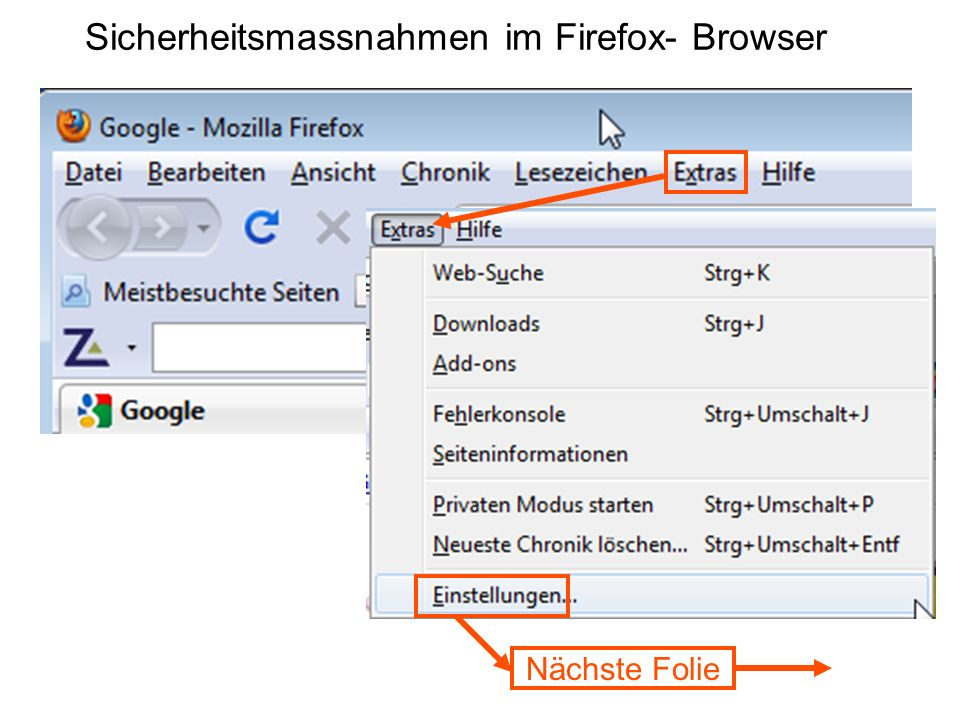 Sicherheitsmassnahmen im Firefox- Browser