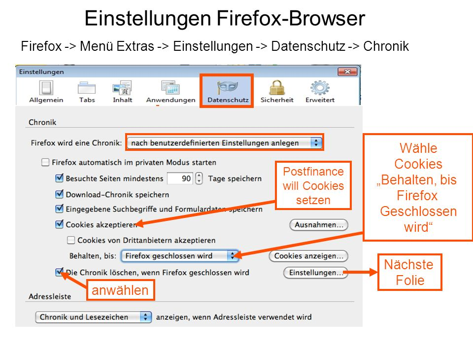 Einstellungen Firefox-Browser