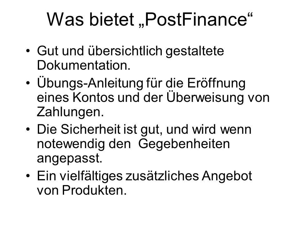 """Was bietet """"PostFinance"""