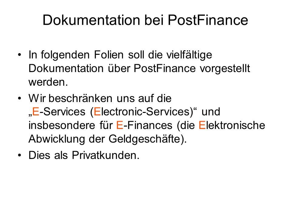 Dokumentation bei PostFinance