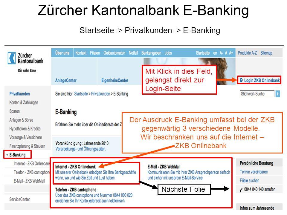 Zürcher Kantonalbank E-Banking