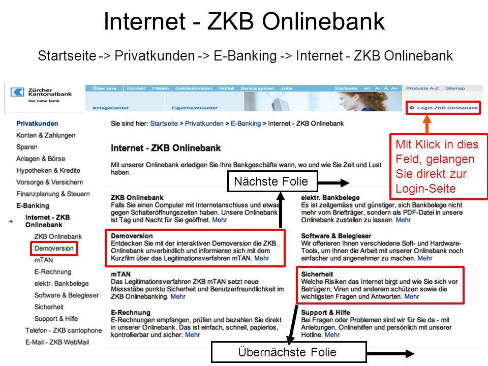 Internet - ZKB Onlinebank