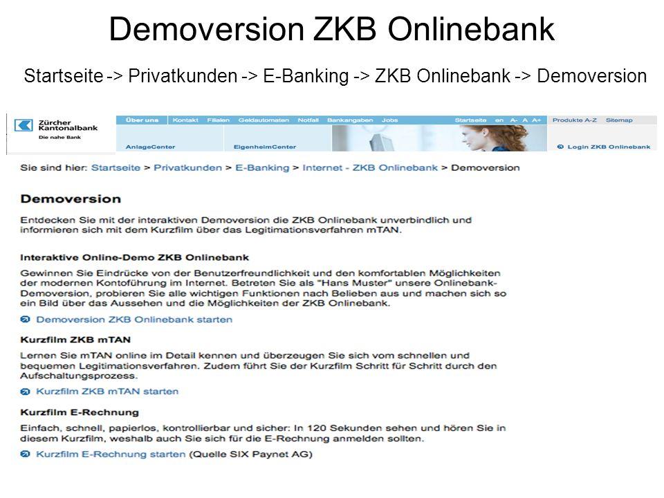 Demoversion ZKB Onlinebank