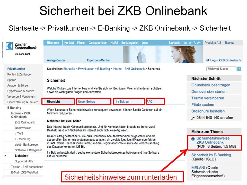 Sicherheit bei ZKB Onlinebank