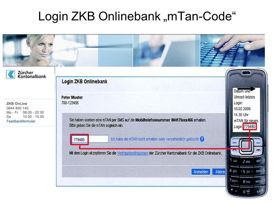 "Login ZKB Onlinebank ""mTan-Code"