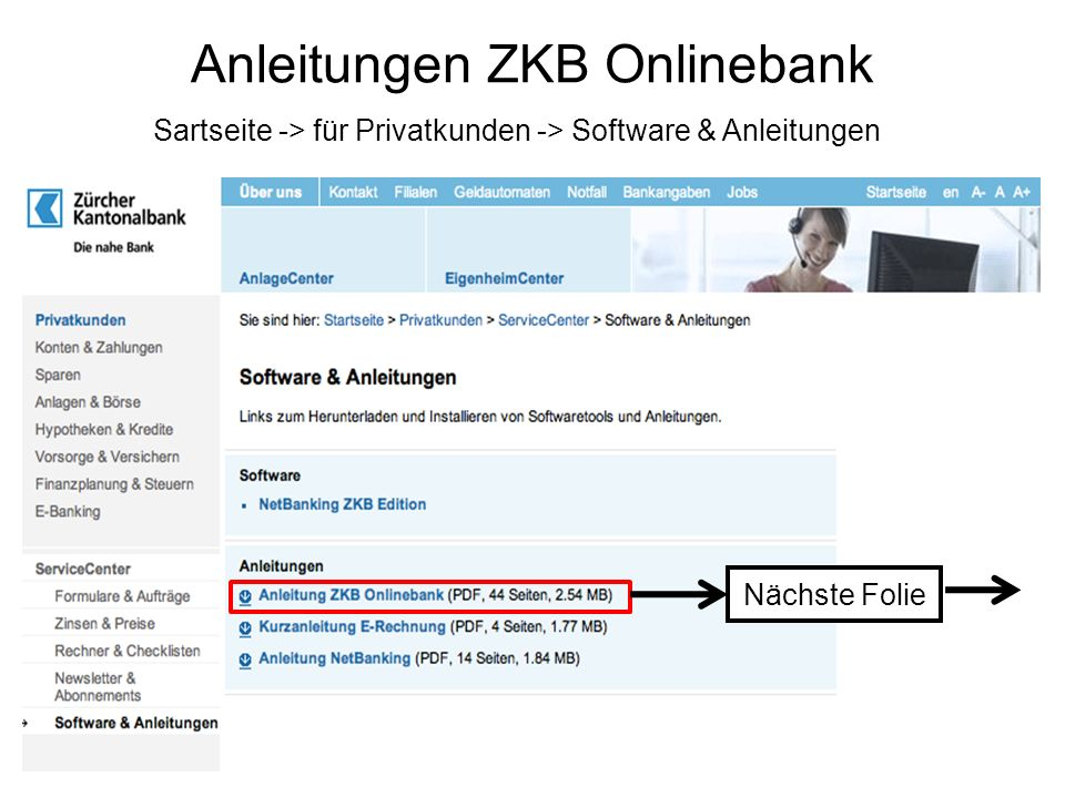 Anleitungen ZKB Onlinebank