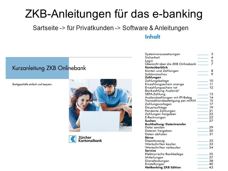 ZKB-Anleitungen für das e-banking