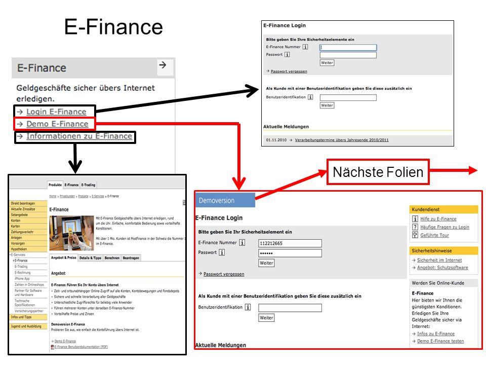 E-Finance Nächste Folien