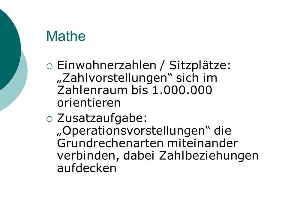"""Mathe Einwohnerzahlen / Sitzplätze: """"Zahlvorstellungen sich im Zahlenraum bis 1.000.000 orientieren."""
