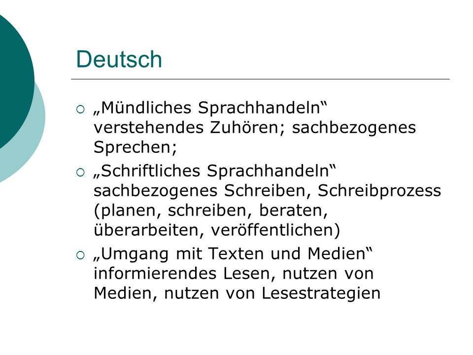 """Deutsch """"Mündliches Sprachhandeln verstehendes Zuhören; sachbezogenes Sprechen;"""